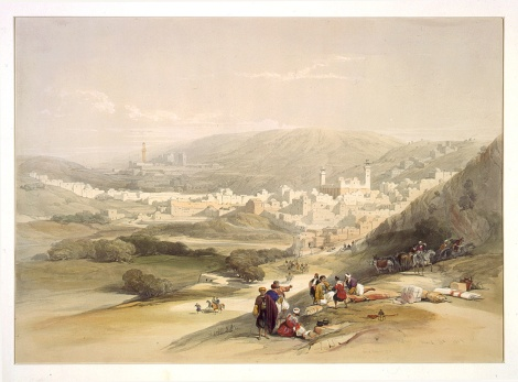 Lithograph of Hebron from mid 1800s