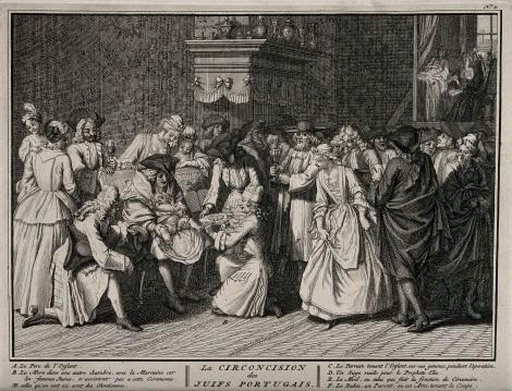A Portugese Jewish circumcision ceremony. Engraving, 1725, Bernard Picart