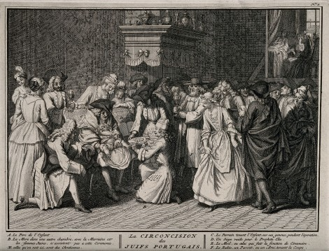 A Portugese Jewish circumcision ceremony. Engraving, 1725, Bernard Picart